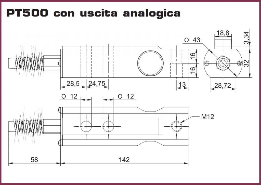 Ingombri dimensionali serie PT500