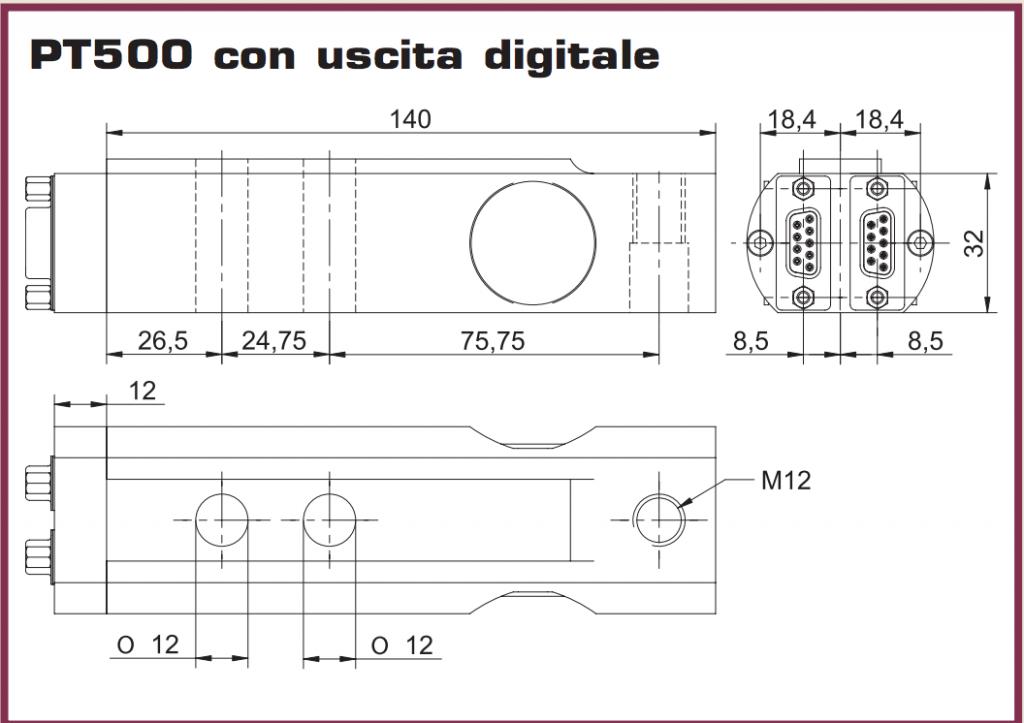 PT500 Ingombri dimensionali