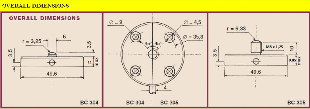 BC304_BC305 overall dimensions
